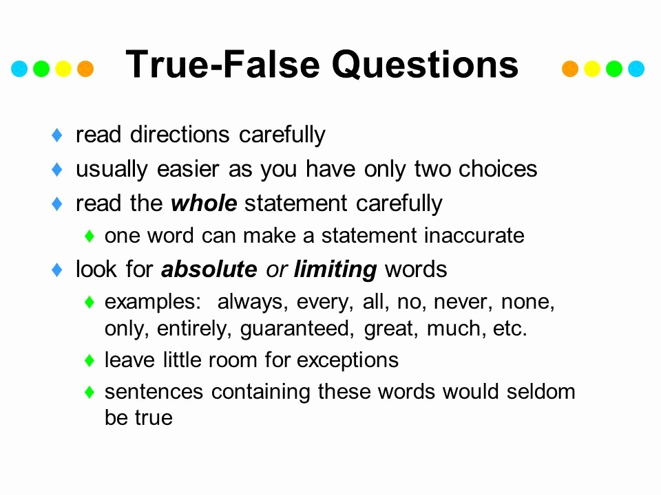 Create True or False Quiz Unique Test Taking Goals Identify Your Reactions to Test Taking