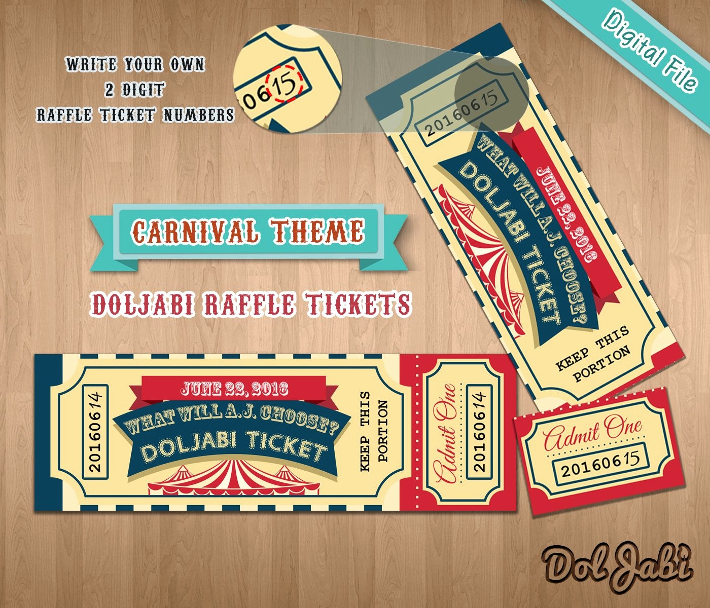 Create Your Own Raffle Tickets Fresh Custom Doljabi Raffle Tickets Carnival theme Korean First