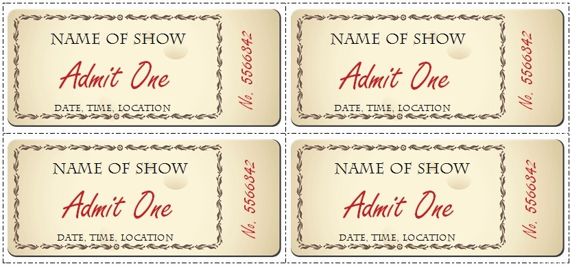 Create Your Own Tickets Free Elegant Ticket Word Template Invitation Template