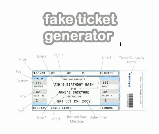 Create Your Own Tickets Template Fresh Fake Ticket Generator Create Your Very Own Novelty