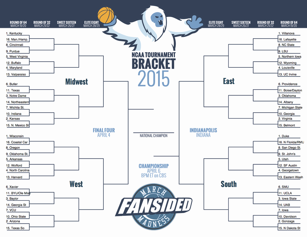 Create Your Own tournament Bracket Awesome Printable Ncaa tournament 2015 Bracket Fill In Your Own