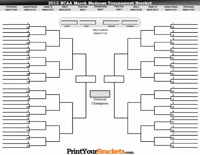 Create Your Own tournament Bracket Beautiful Printable March Madness Bracket 2015 Men S Ncaa tourney
