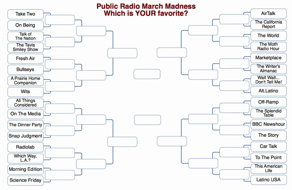 Create Your Own tournament Bracket Unique March Madness Brackets Make Public Radio Shows
