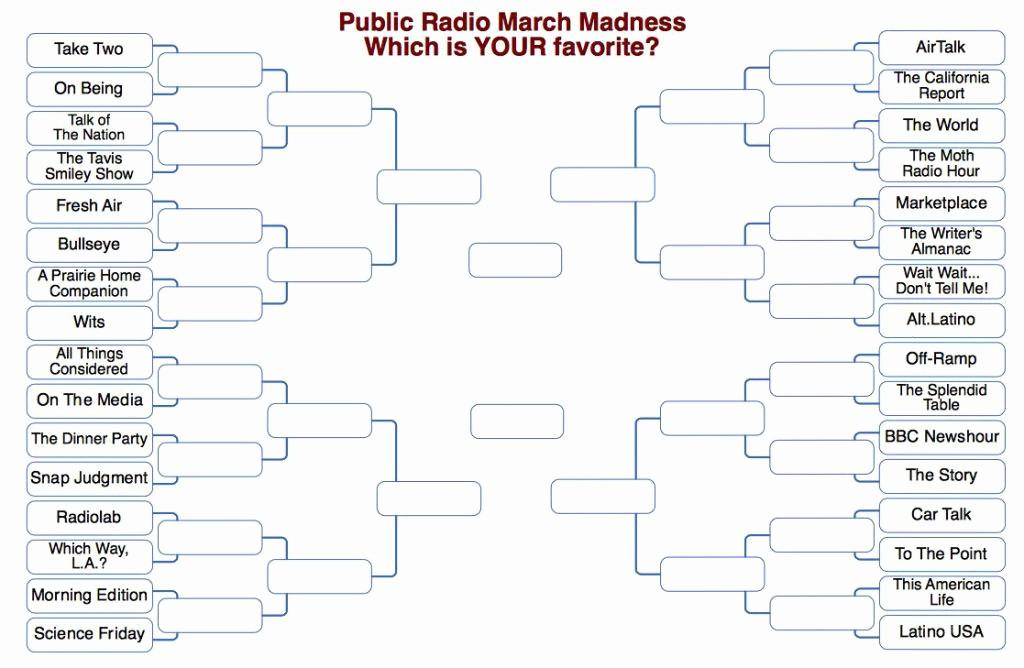 Create Your Own tournament Bracket Unique March Madness Brackets Make Public Radio Shows