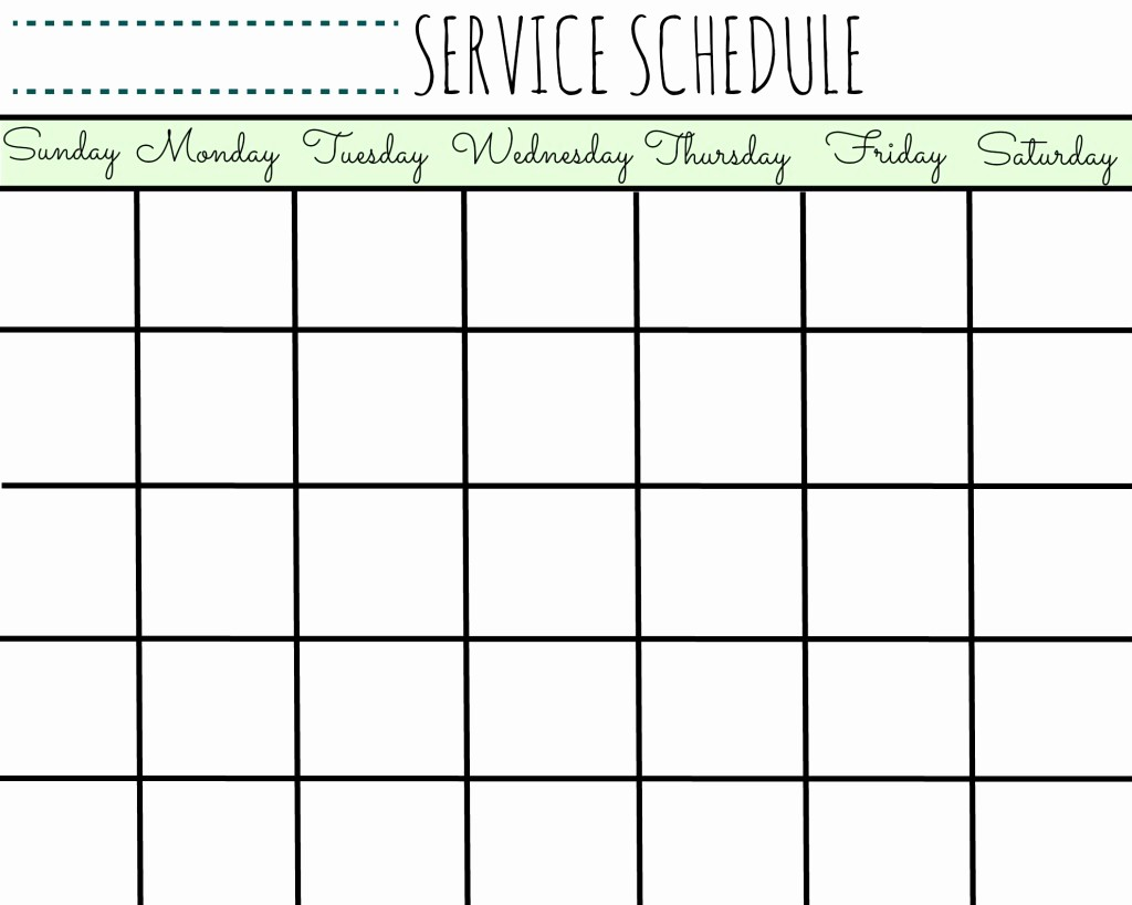 Create Your Own Weekly Calendar Beautiful Service Schedule Calendar Printable First Home Love Life