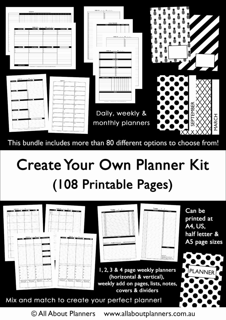 Create Your Own Weekly Calendar Fresh the Create Your Own Planner Kit 108 Printable Pages to