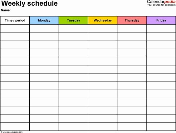 Create Your Own Weekly Calendar Lovely Weekly Schedule Template for Word Version 1 Landscape 1