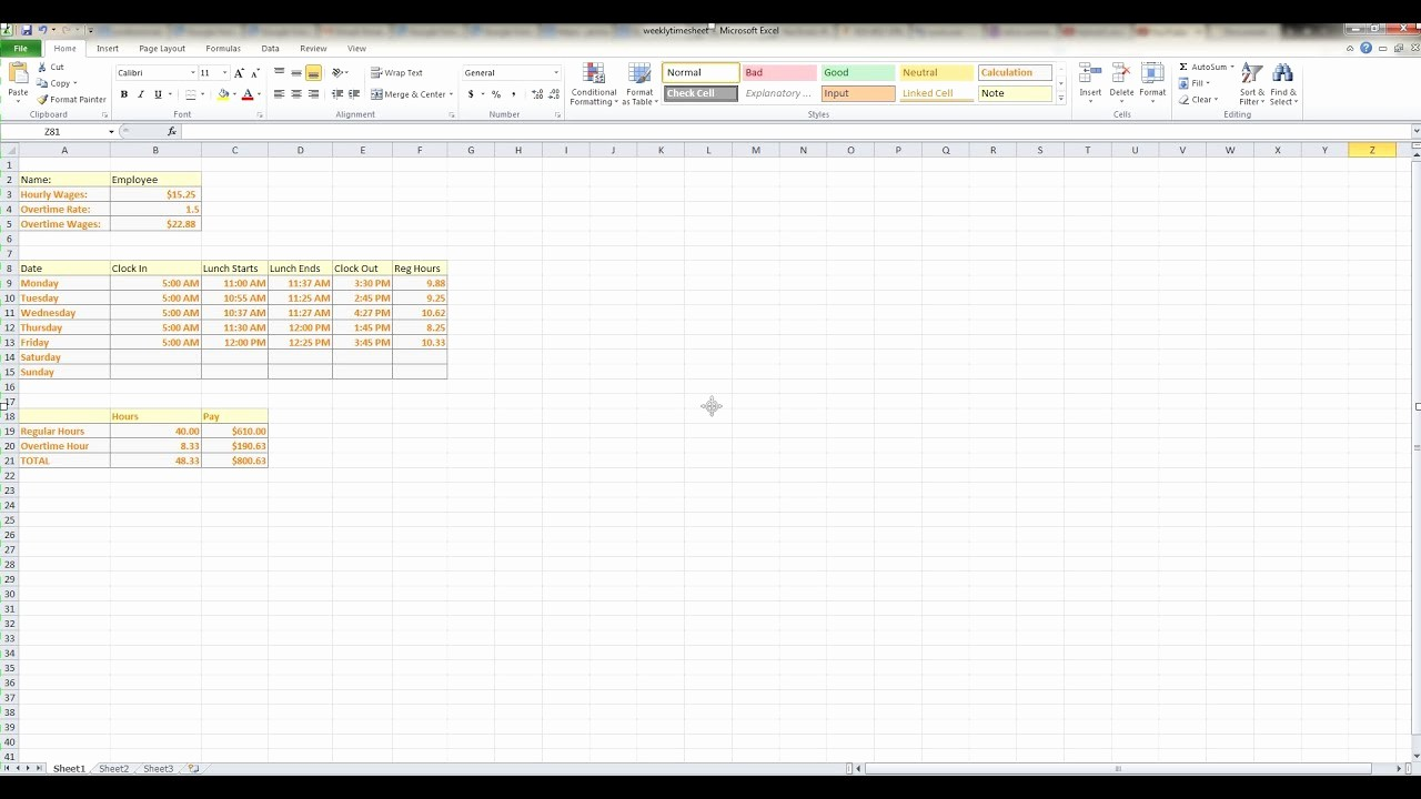 Creating A Timesheet In Excel Awesome How to Make A Weekly Timesheet Calculator In Microsoft