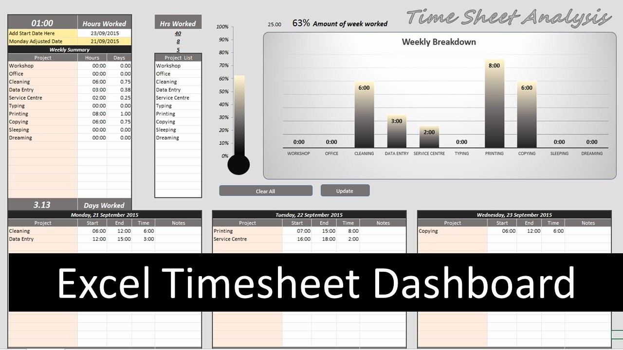 Creating A Timesheet In Excel Fresh Excel Timesheet Dashboard