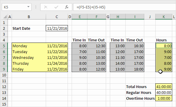 Creating A Timesheet In Excel Fresh Time Sheet In Excel Easy Excel Tutorial