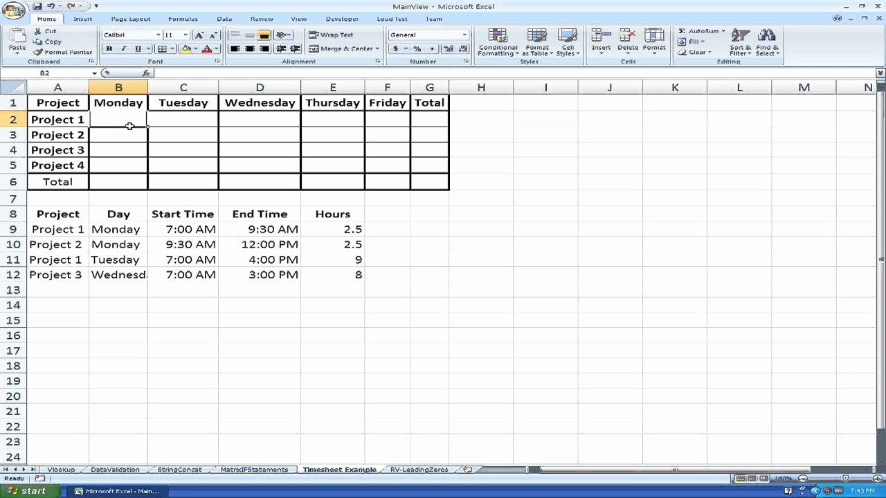 Creating A Timesheet In Excel Lovely How to Make A Time Sheet Using Matrices and if Statements