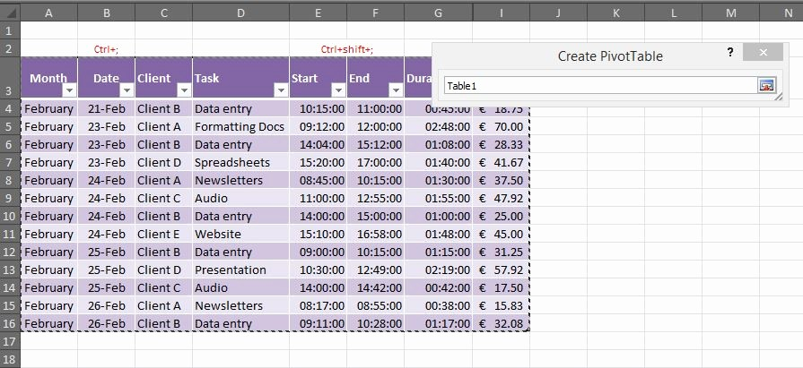 Creating A Timesheet In Excel Luxury How to Create A Pivot Table for A Timesheet