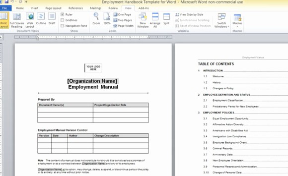 Creating A Training Manual Template Fresh Employment Handbook Template for Word