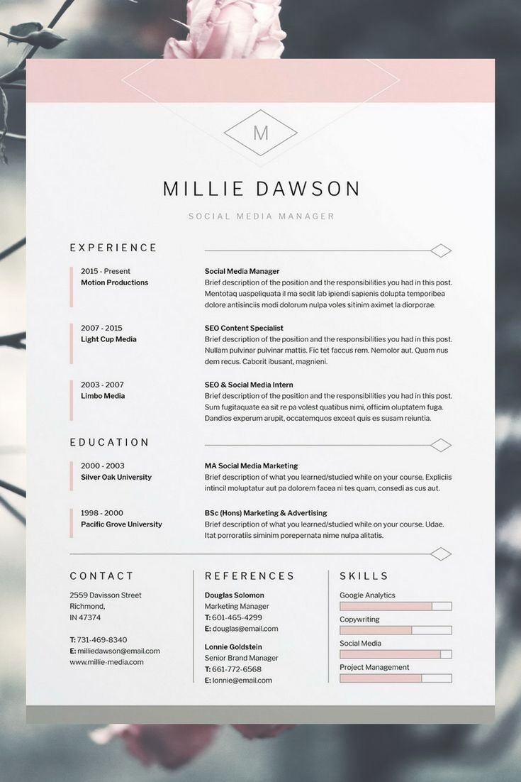 Creative Resume Template for Word Awesome 25 Best Creative Cv Template Ideas On Pinterest