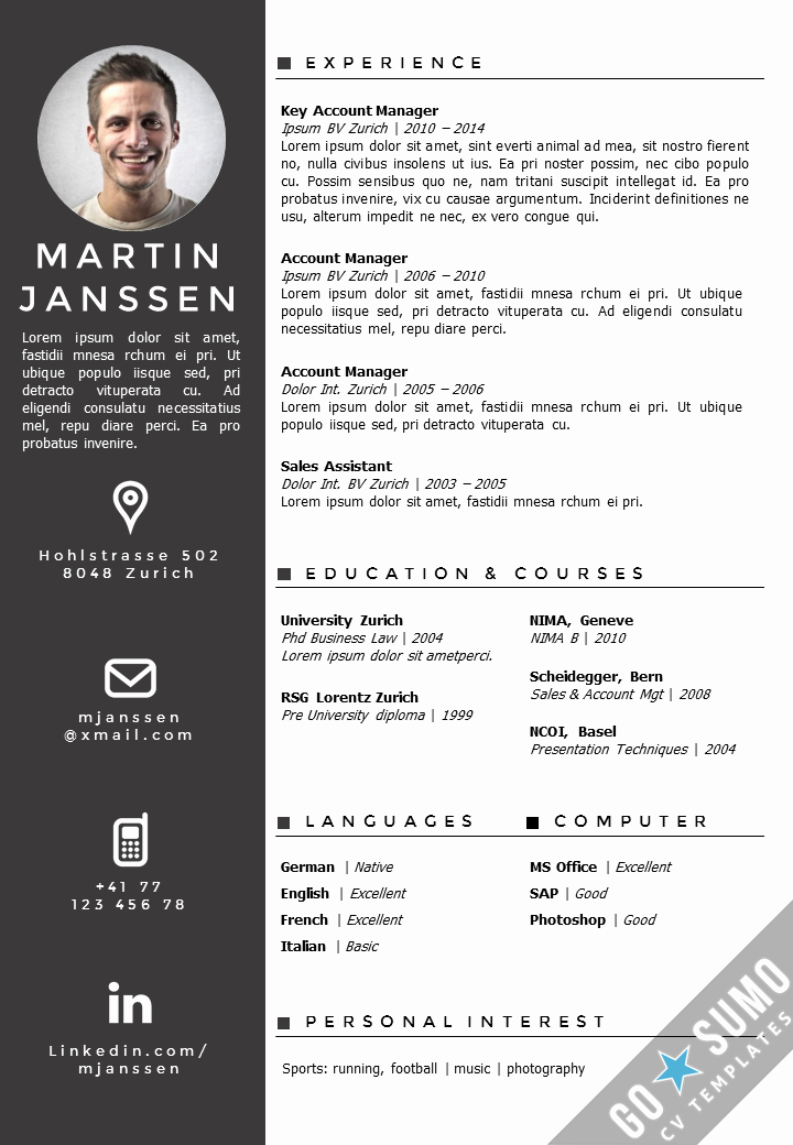 Creative Resume Template for Word Awesome Cv Template Zurich Derar Pinterest