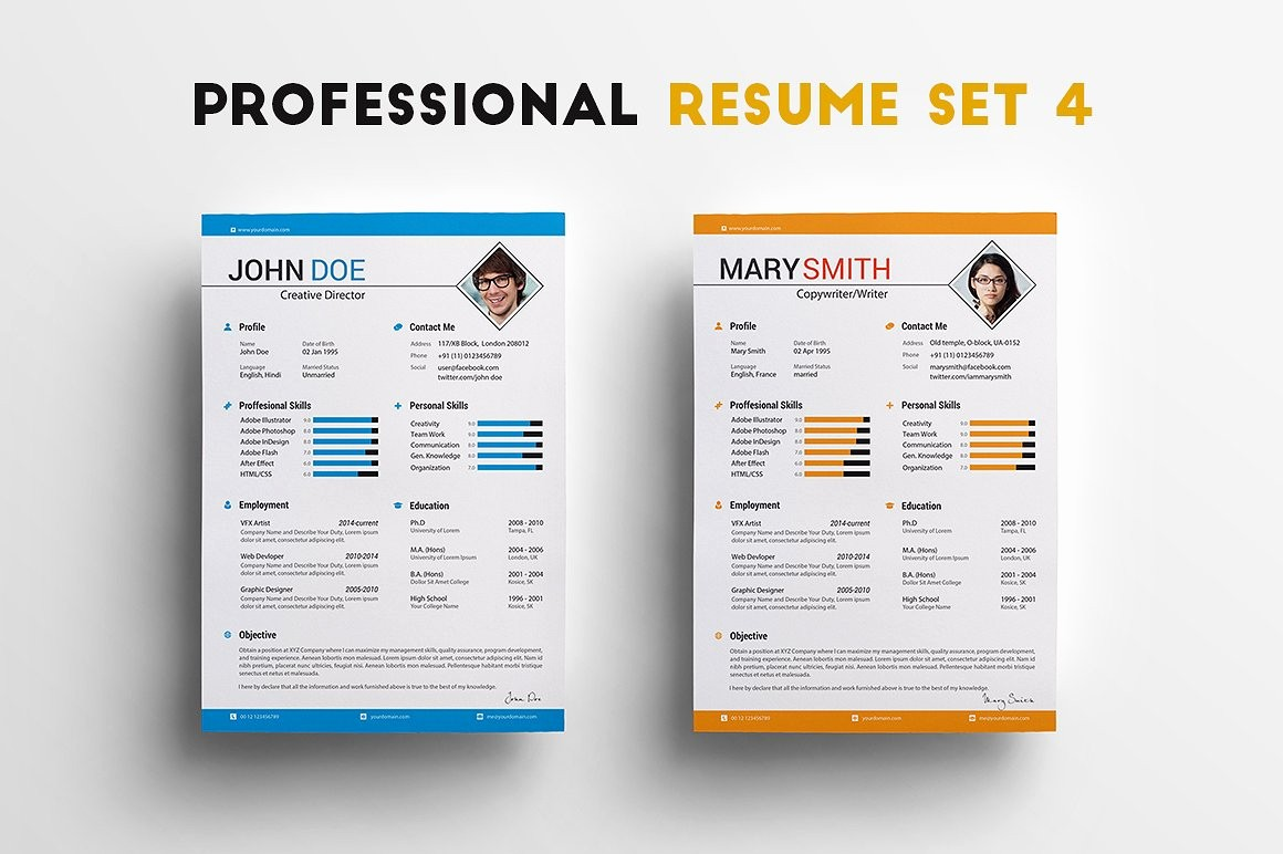 Creative Resume Template for Word Awesome Professional Resume Set 4 Resume Templates Creative Market