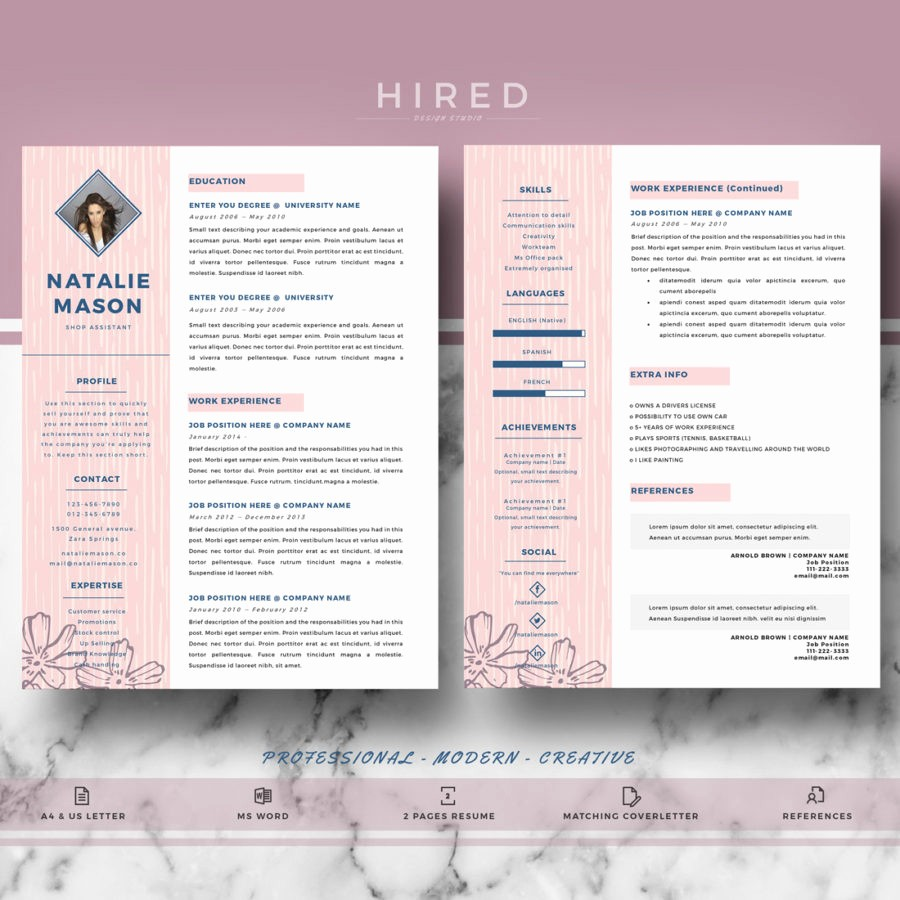 "Creative Resume Template for Word Best Of Creative Resume Template for Ms Word ""natalie"" Hired"