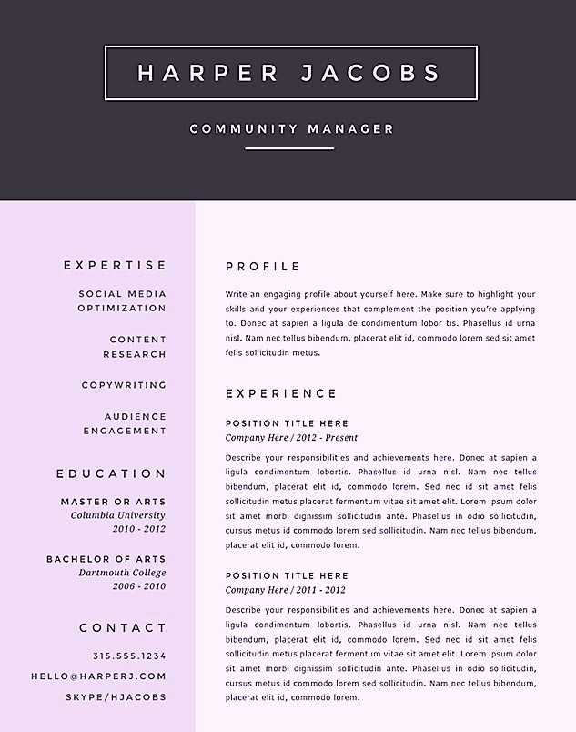 Creative Resume Template for Word Inspirational Free Creative Microsoft Word Resume Templates