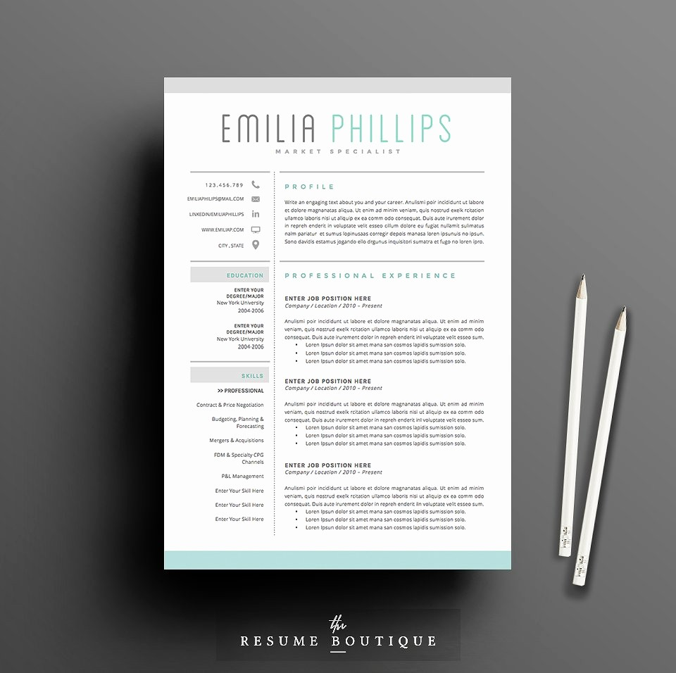 Creative Resume Template for Word Inspirational Resume Template 4 Page Pack