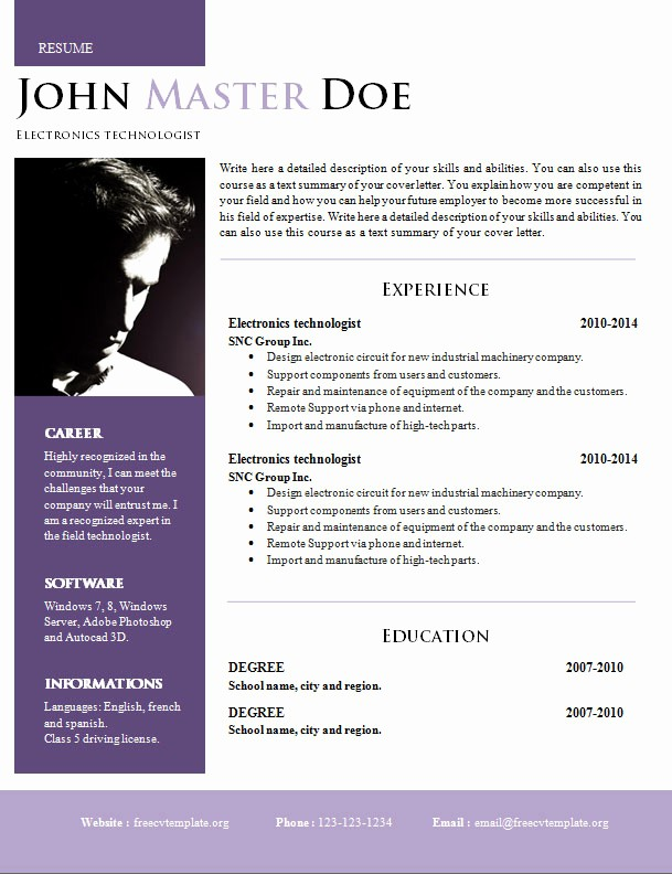 Creative Resume Template for Word Unique Creative Design Resume Doc format 820 – 825 – Free Cv