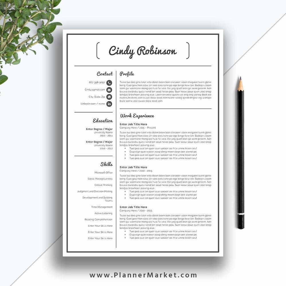 Creative Resume Template Microsoft Word Elegant Resume Template Modern Cv Template Creative