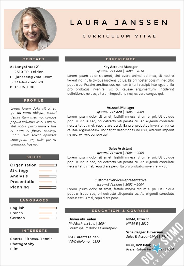 Creative Resume Template Microsoft Word Luxury Cv Template Milan Go Sumo Cv Template