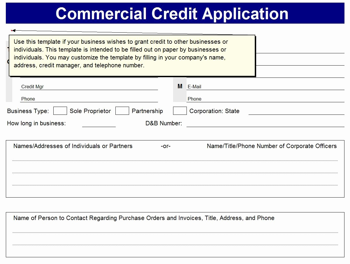 Credit Application form for Business Fresh Business Excel Templates