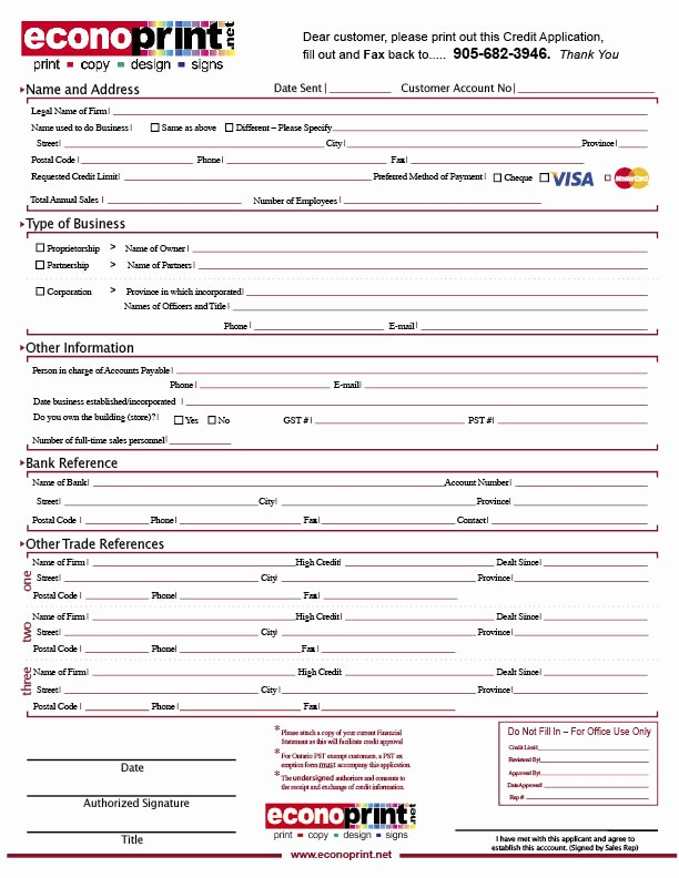 Credit Application form for Business Fresh Free Printable Credit Application form form Generic