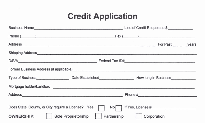 Credit Application form for Business Inspirational Free Business Credit Application form
