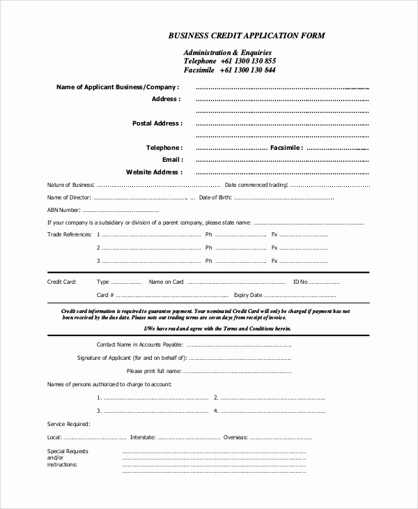 Credit Application form for Business Lovely 9 Sample Business forms