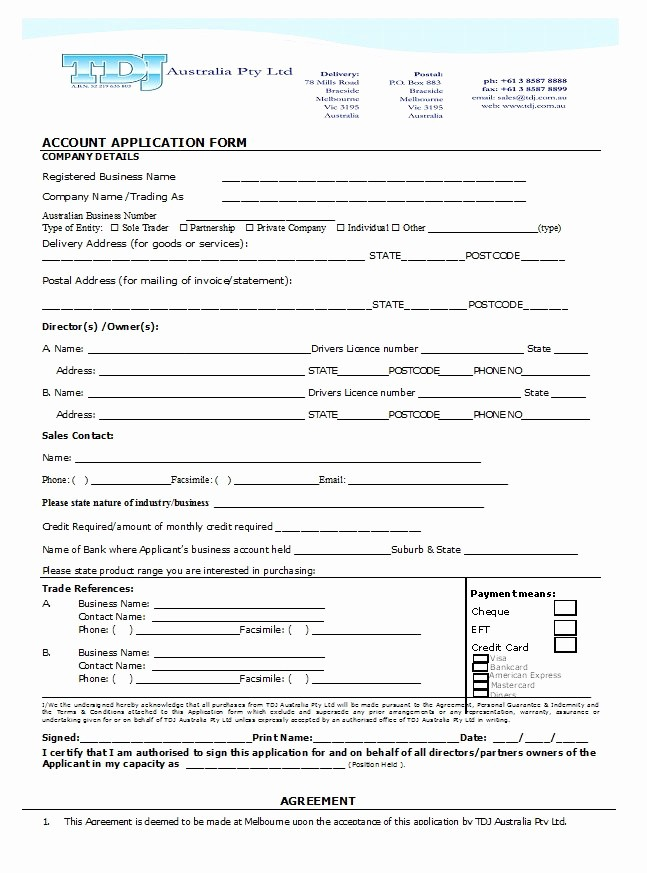 Credit Application form for Business New 40 Free Credit Application form Templates & Samples