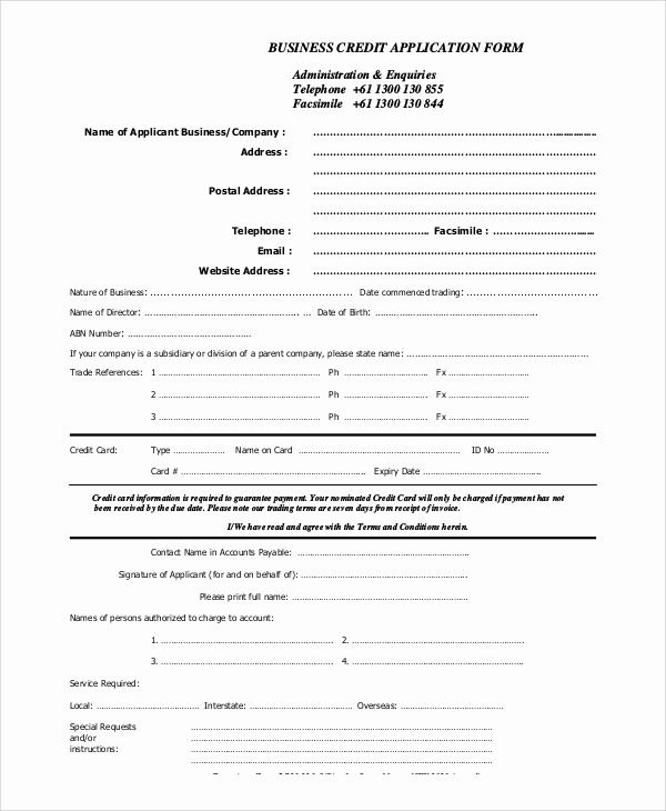 Credit Application form for Business Unique 10 Sample Credit Applications