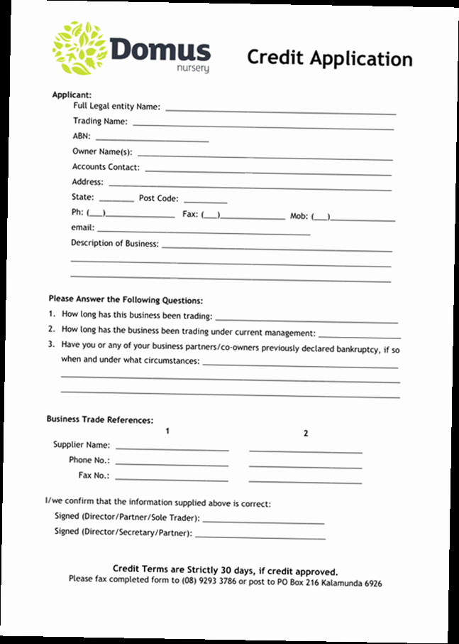 Credit Application form for Business Unique Business Credit Application form Pdf