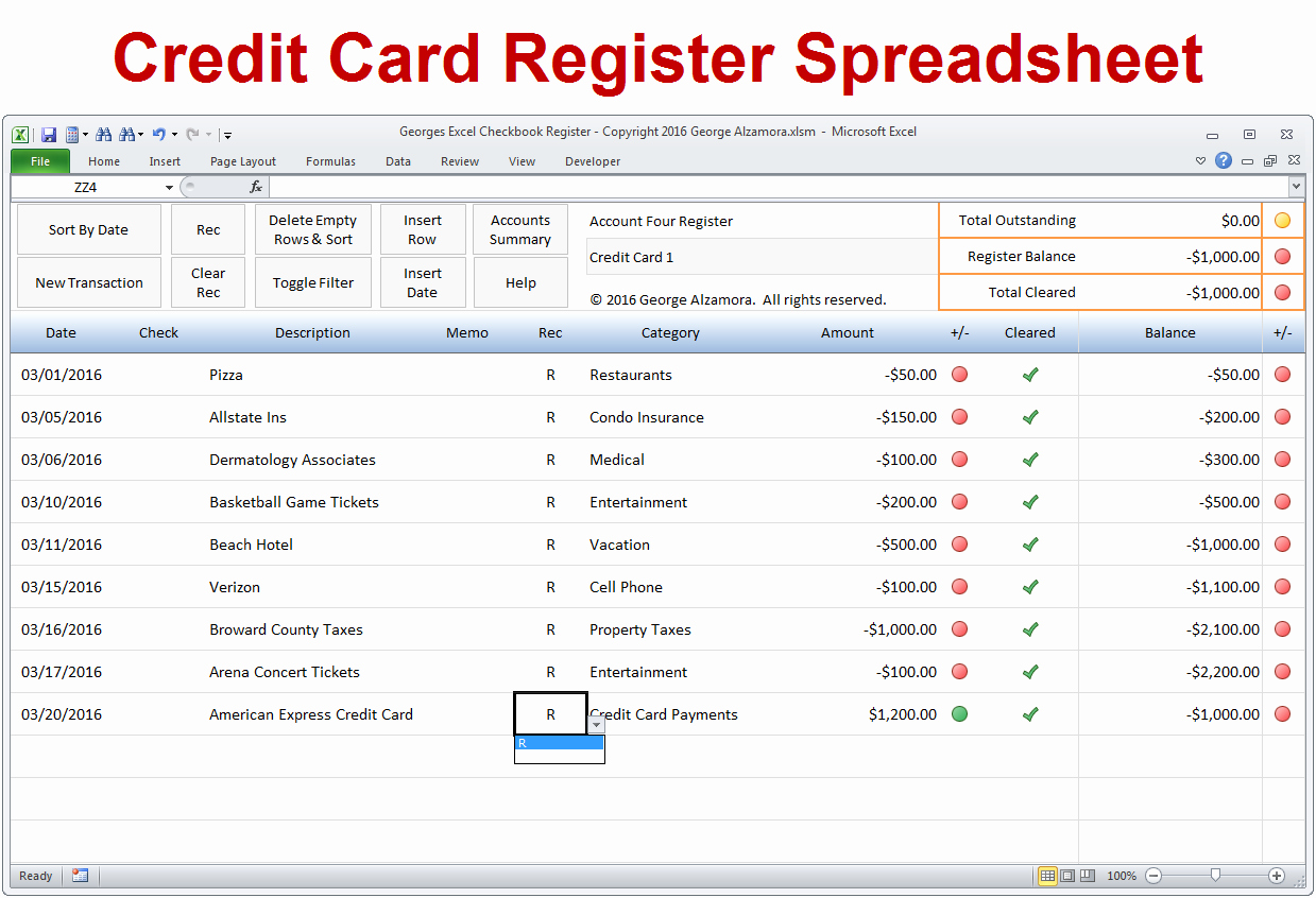 Credit Card Balance Sheet Template Unique Excel Checkbook software Spreadsheet Template
