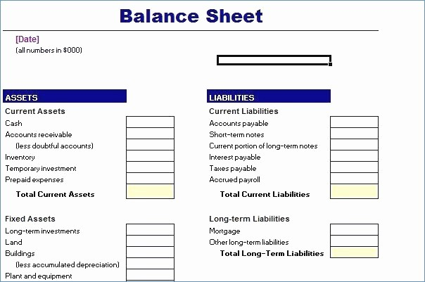 Credit Card Balance Sheet Template Unique Free Balance Sheet Template