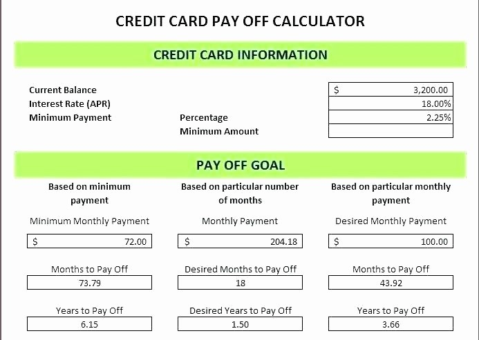 Credit Card Payment Excel Template Awesome Credit Card Payoff Excel Spreadsheet Template Tracking