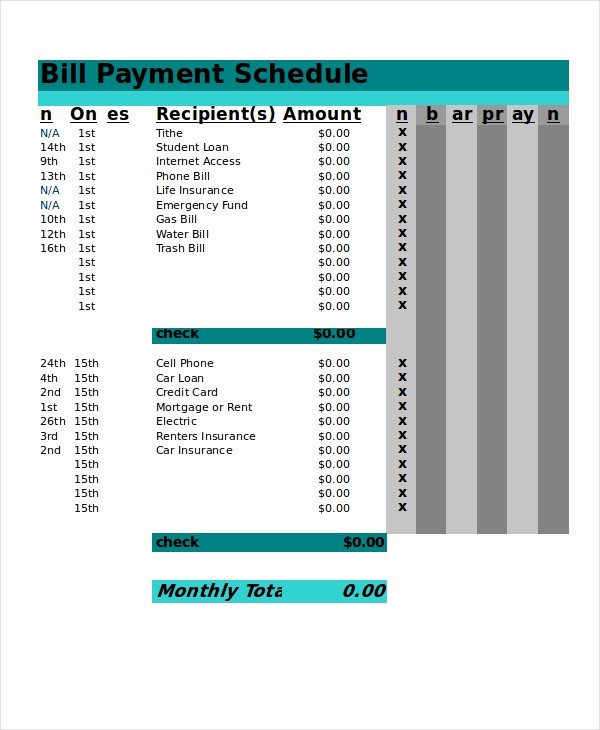 Credit Card Payment Excel Template Inspirational 13 Sample Excel Schedule Templates Free Example