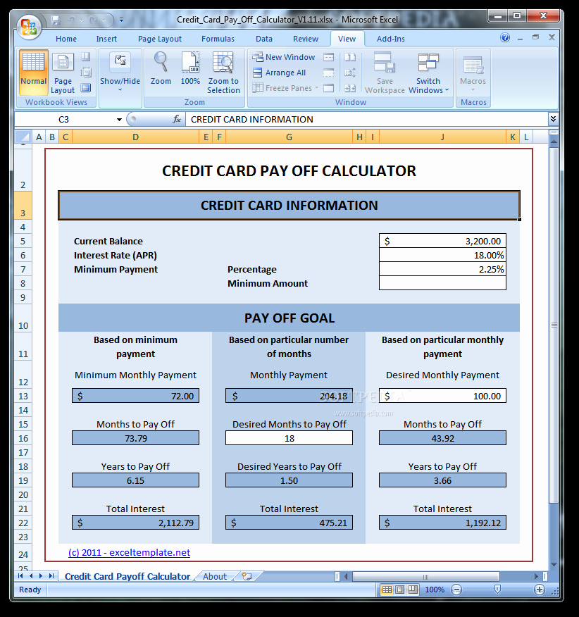 Credit Card Payment Excel Template New Credit Card Interest How to Calculate Interest Rate
