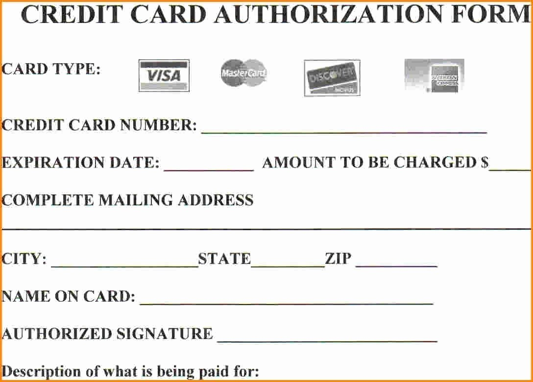 Credit Card Payment Excel Template Unique 25 Credit Card Authorization form Template Free Download