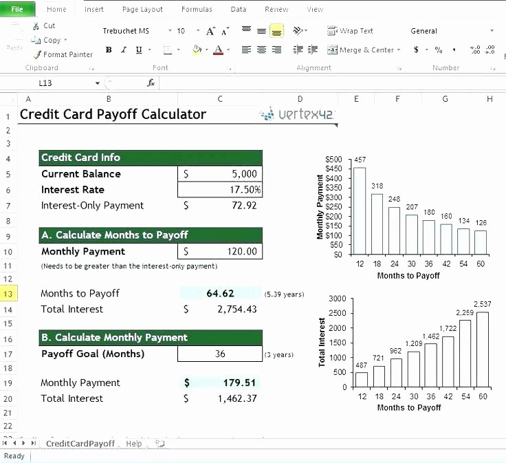Credit Card Payment Excel Template Unique Debt Snowball Worksheet Excel Credit Card Calculator Full