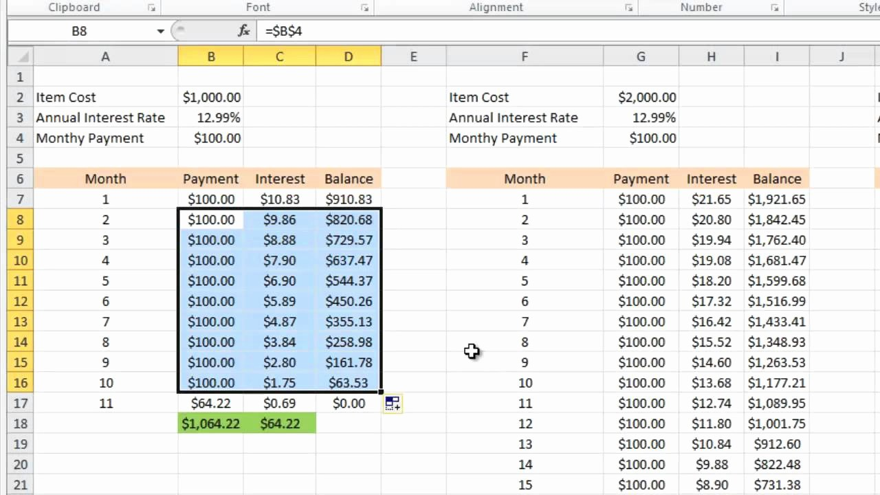 Credit Card Payment Tracking Spreadsheet Awesome Calculating Credit Card Payments In Excel 2010