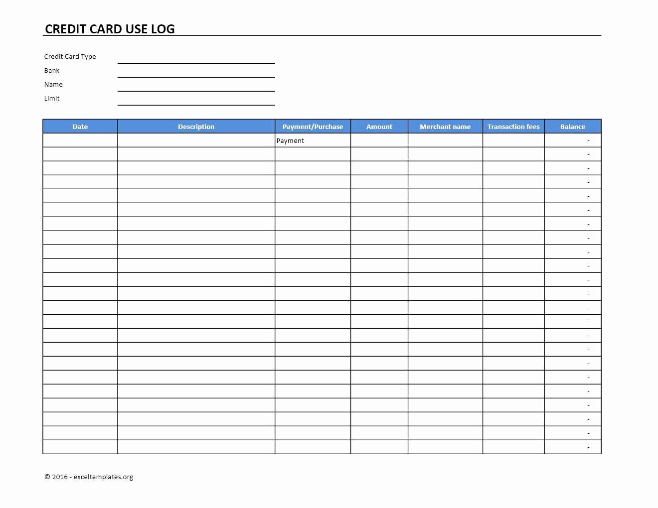 Credit Card Payment Tracking Spreadsheet Elegant Credit Card Use Log Template Excel Templates