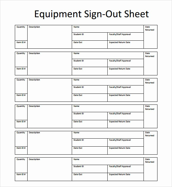 Credit Card Sign Out Sheet Awesome Sample Sign Out Sheet Template 8 Free Documents