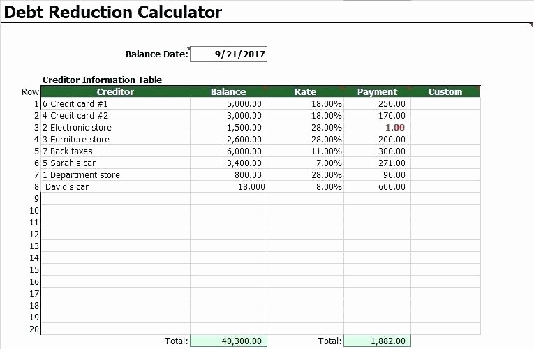 Credit Card Snowball Calculator Excel Best Of Debt Snowball Spreadsheet Excel Debt Snowball Calculator