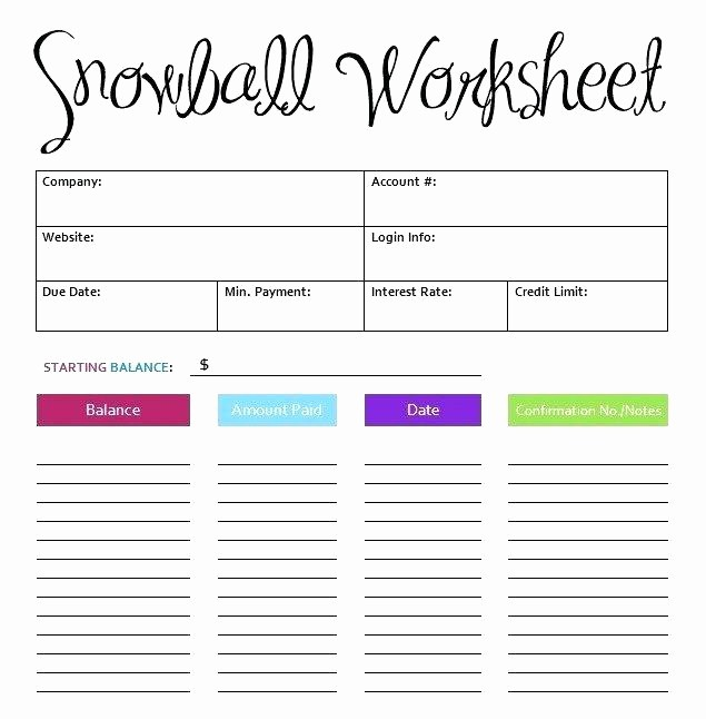 Credit Card Snowball Calculator Excel Best Of Debt Snowball Worksheet Excel Credit Card Calculator Full