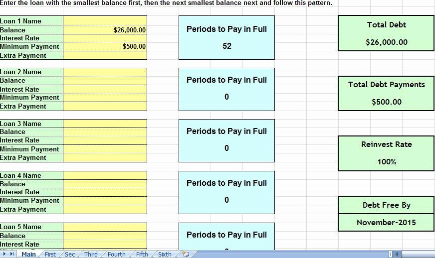 Credit Card Snowball Calculator Excel Inspirational Debt Snowball Consolidation Calculator Excel Spreadsheet
