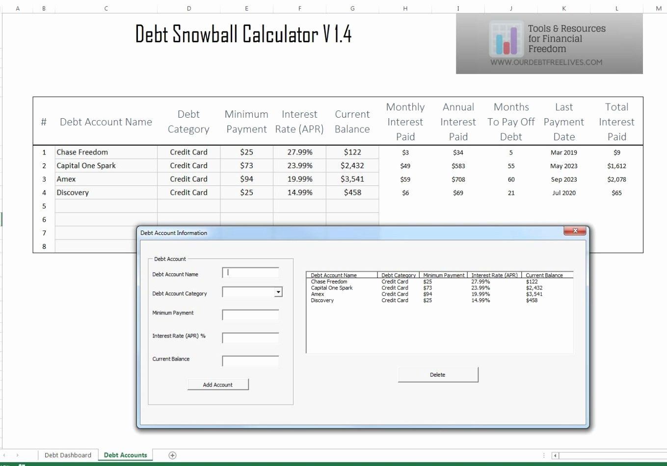 Credit Card Snowball Calculator Excel New Debt Snowball Calculator Debt Reduction Services Debt