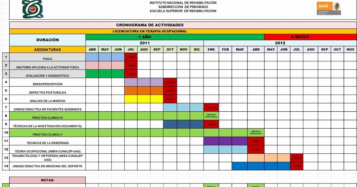 Cronogramas De Actividades En Excel Awesome Licenciatura En Terapia Ocupacional Cronograma De Actividades