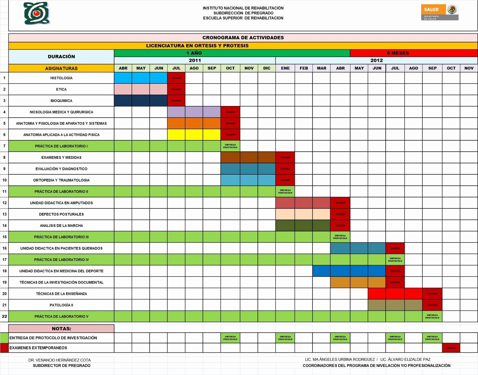 Cronogramas De Actividades En Excel Elegant Licenciatura En Órtesis Y Prótesis Cronograma De Actividades