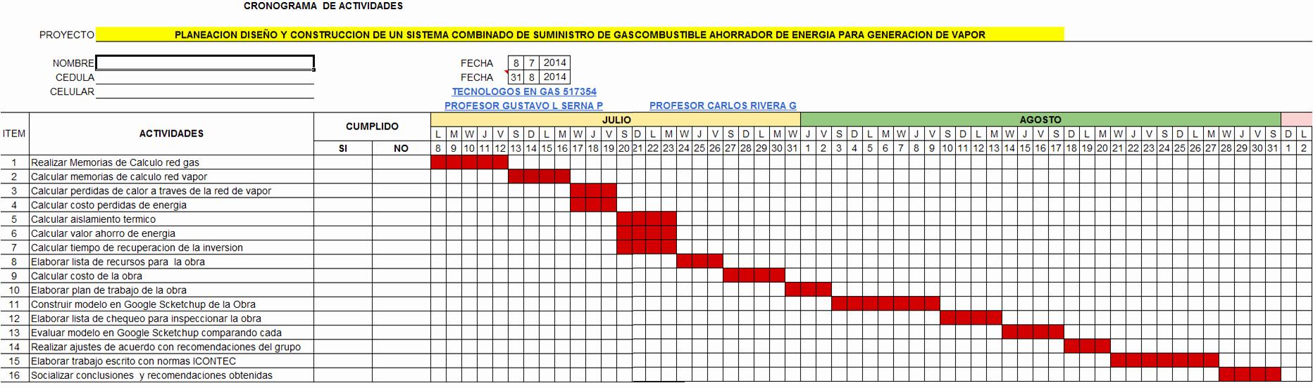 Cronogramas De Actividades En Excel Inspirational Cronograma De Actividades Calor Apuntes Y Calculos